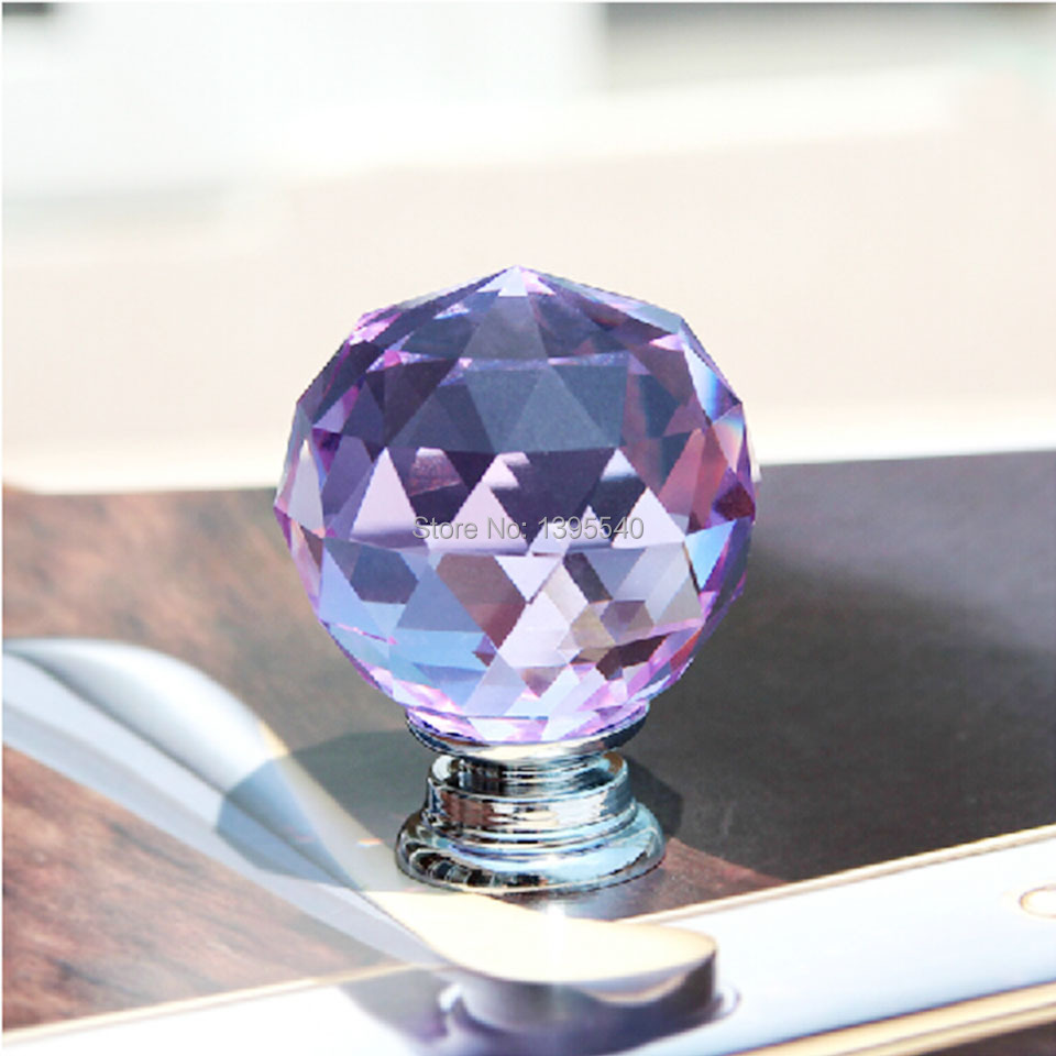 New 35mm Purple Crystal Cabinet Drawer Knob Wardrobe Glass Handle Kitchen Cabinet Knobs Shoesbox Handle Wine Cabinet Pull(China (Mainland))