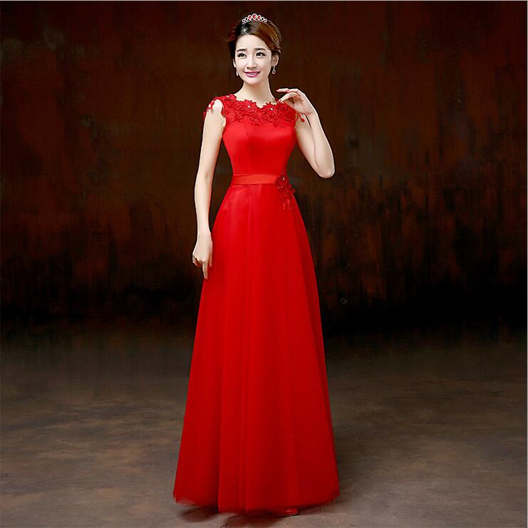 Embroidery Floor Length A-Line Formal Gowns Wedding Party Dresses Red Bridesmaid Dresses Long robe demoiselle d'honneur(China (Mainland))