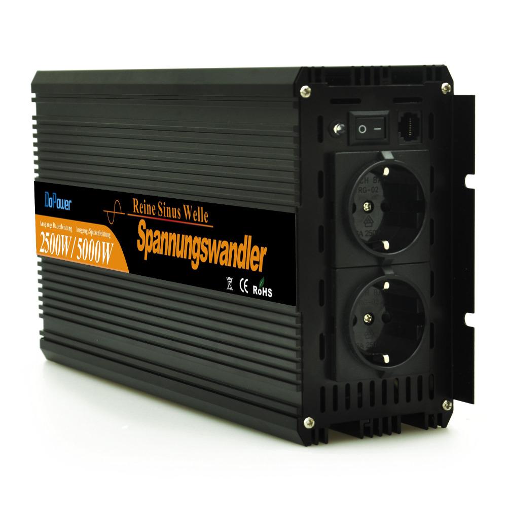 DC 12V to AC 220V pure sine wave power off grid inverter 2500 watt with wired Remote 5000 watt peak converters(China (Mainland))