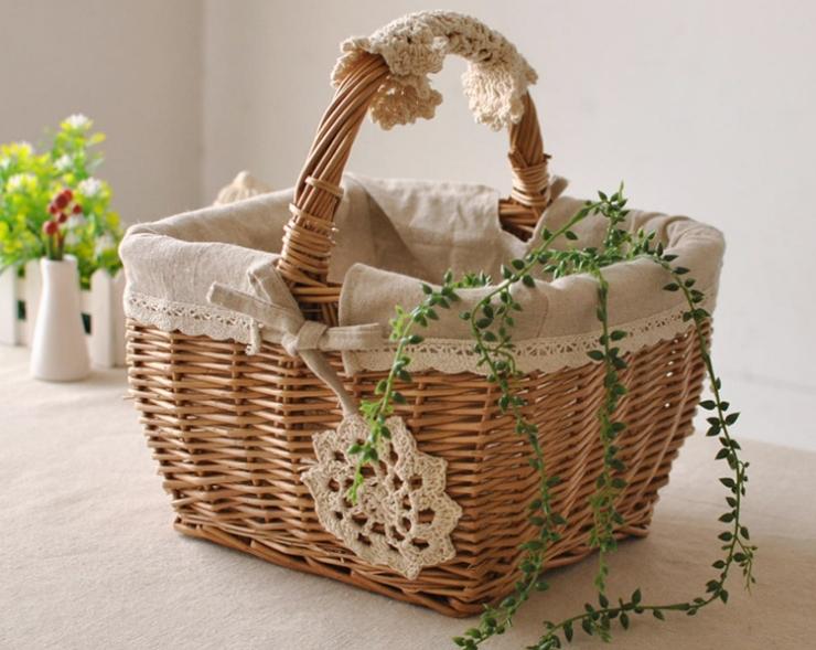 Как украсить плетеную корзину