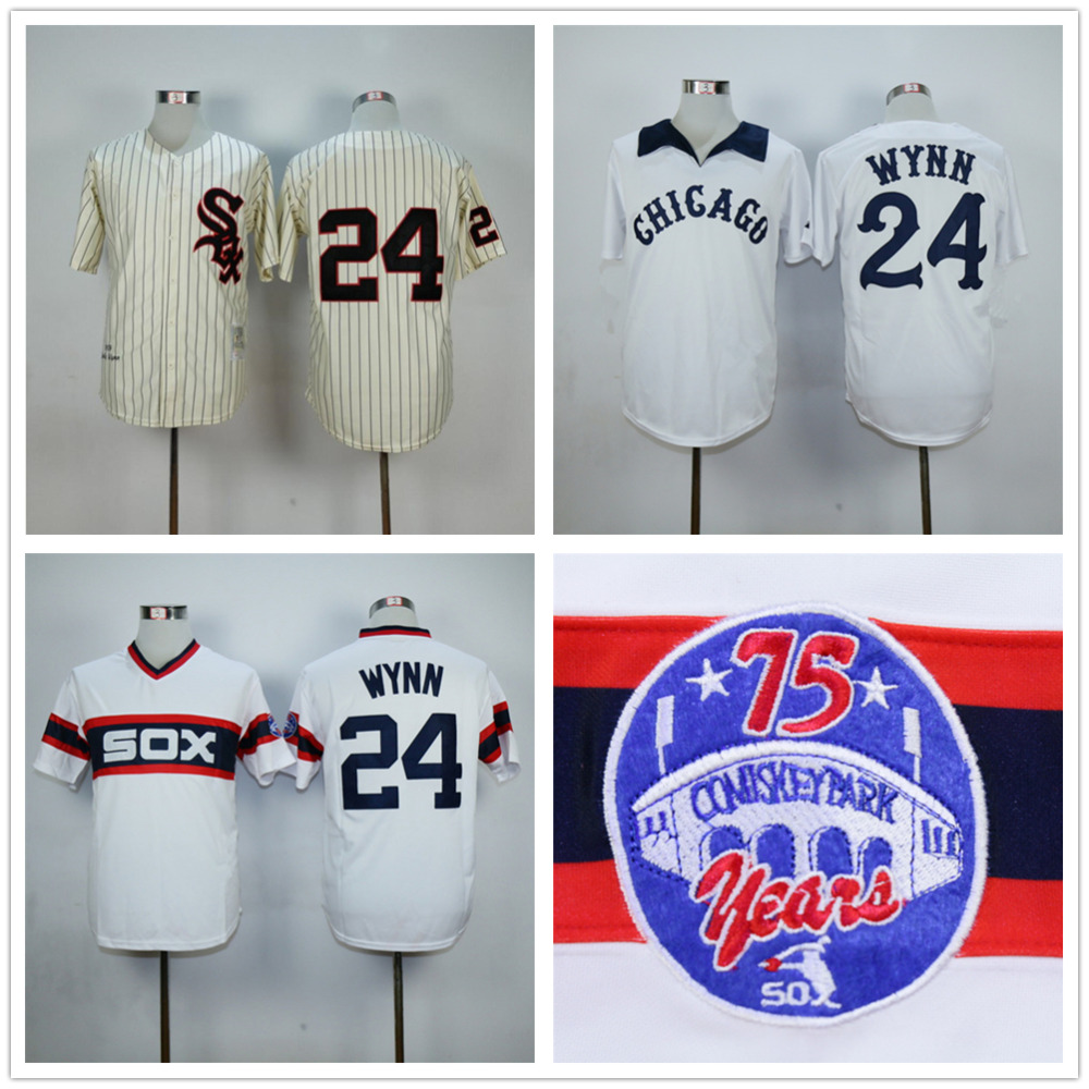 Early Wynn Jersey Chicago White Sox 24# Throwback Baseball Jersey Authentic Stitched Baseball Shirt Beige White(China (Mainland))