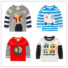 Clearance Boys T-shirt Kids Tees Baby Boy tshirts Children tees Long Sleeve 100% Cotton Cars Fireman Top Quality Free Shipping(China (Mainland))