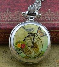 retro new silver cute colorful high wheel women pocket watch necklace hour clock with chain wholesale