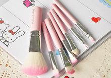 Professional  Hello Kitty 7pcs Mini Makeup Brushes Set cosmetics kit Foundation Eyeshadow Blush Lip Brush, Free Drop Shipping
