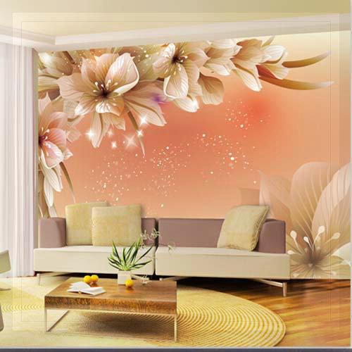 Large 3d wall murals photo wallpaper flower for living for Murales de pared