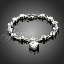 Fashion 18K Gold Plated Stellux Austrian Crystal Heart Charms Bracelet for Women FREE SHIPPING (Jenia PH018)(China (Mainland))