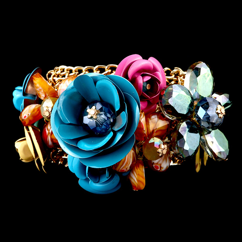 Gold Plated Alloy Crystal Flower Beads Charms Bangle Bracelet Women Fashion Jewelry 3 Colors Gift Bijou - KAYMEN JEWELRY CO,.LED. store