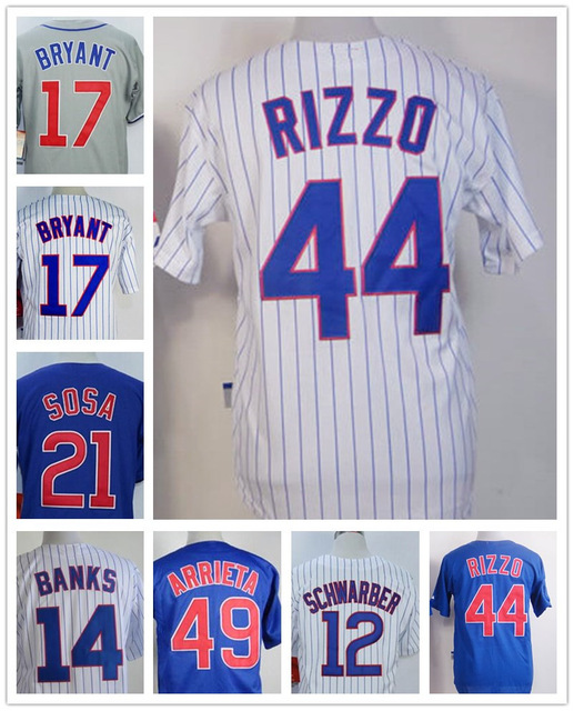 Mens chicago cubs jerseys cool base #17 Kris Bryant #21 Sosa cheap throwback #22 heyward cubs #44 Anthony Rizzo stitched jersey(China (Mainland))