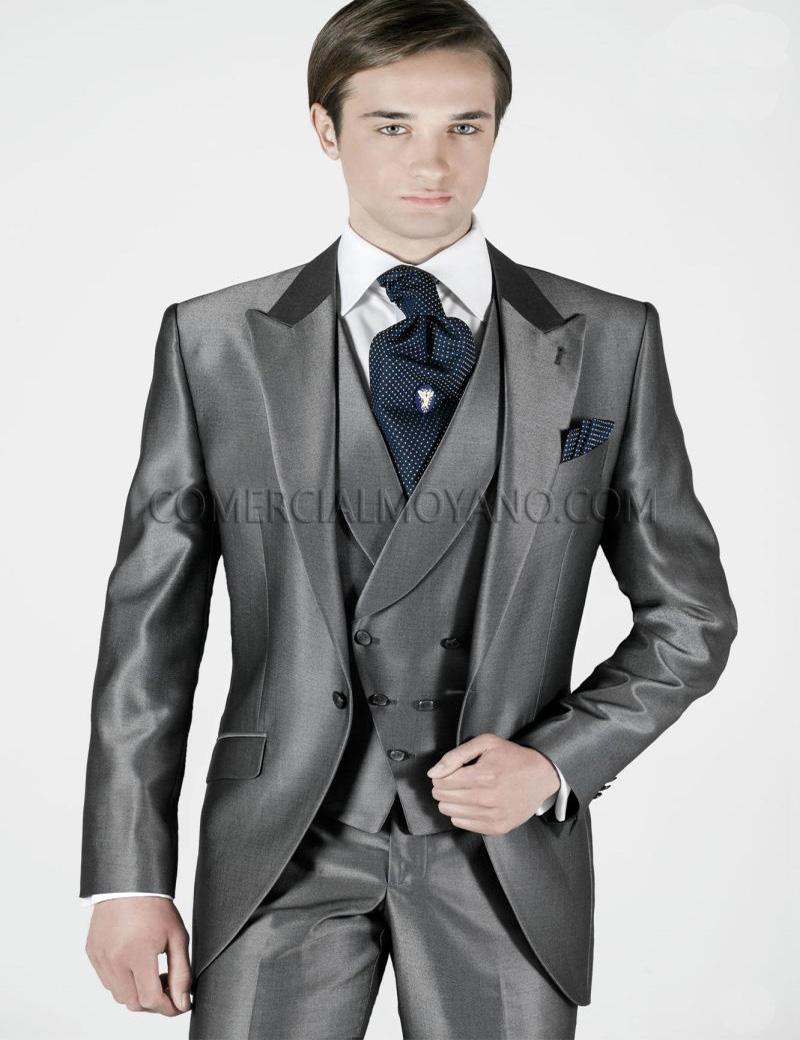custom made 2016 Grey mens wedding suits groom suits Mens Tuxedos Classic fit formal Suits Best Men Suit Jacket+Pants+Tie+Vest