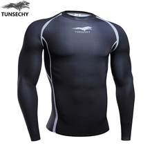 Buy Fitness T shirt Men Compression shirts long sleeve Tight tee shirts Quick Dry Workout Clothes Men's Fashion MMA Base Shirt dress for $7.03 in AliExpress store