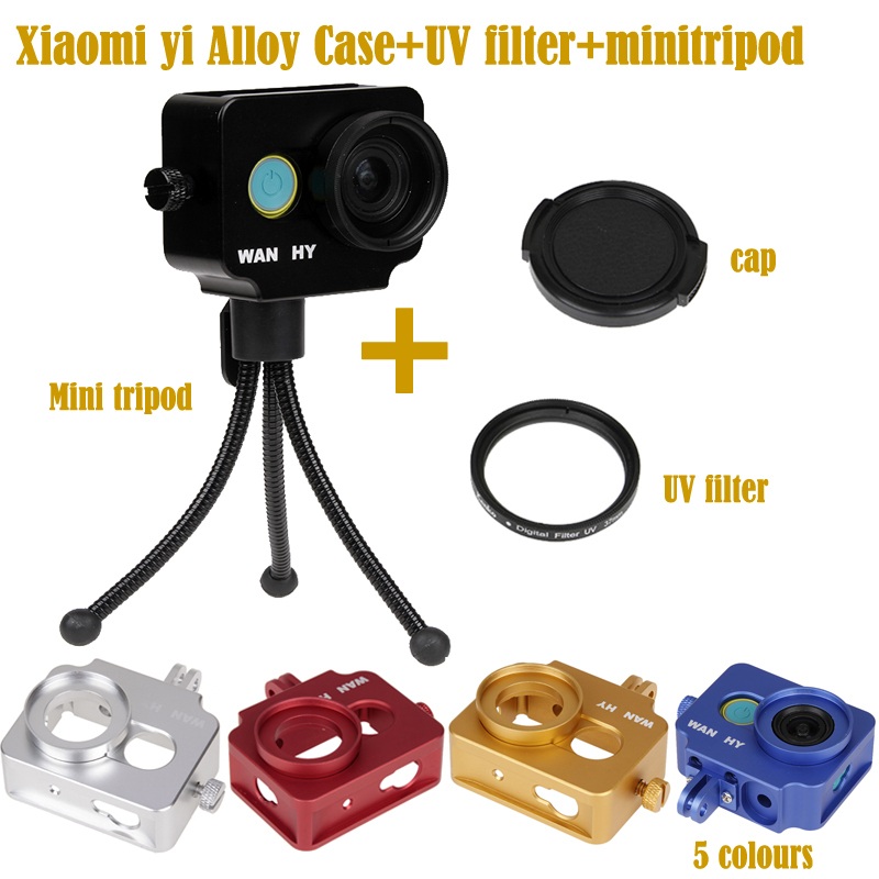 2015 NEW Alloy Xiaomi yi Frame shell case,Xiaoyi Protect Shockproof Housing,UV Filter+mini tripod For Xiaomi yi camera Accessory(China (Mainland))