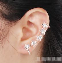 2015 mode argent plaqué cinq étoiles cristal os de l'oreille boucles d'oreilles clips oreille manchette boucles d'oreilles pour femmes filles 1 peça gros(China (Mainland))