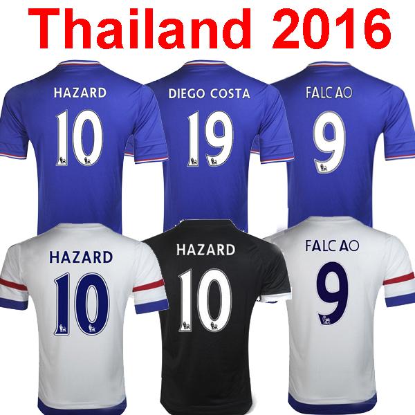 3A Chelsea 2016 soccer jersey HAZARD blue white Chelsea Jersey 15 16 falcao Cuadrado Diego costa football soccer shirt camisetas(China (Mainland))