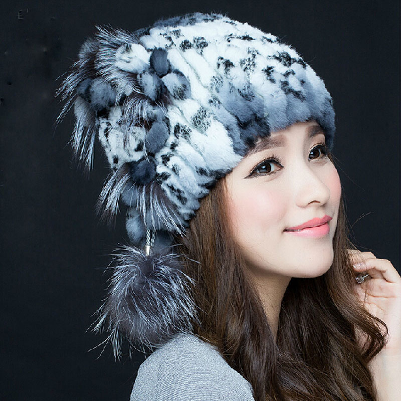 Fashion Russian Lady Rabbit Fur Knitted Cap Nice Women Winter Warm Beanie Hat 100% Real Fur Hats Elastic Skullies LQ11106 Одежда и ак�е��уары<br><br><br>Aliexpress