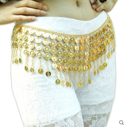 Wholesale Tribal coin belt belly dance Round tower metal coins hip scarf gypsy costume skirt belt indian dress waist chain(China (Mainland))