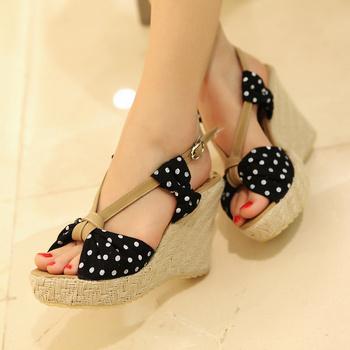 Hot! 2013 spring and summer the sandals platform open toe shoes ultra high heels polka dot linen platform wedges size 34-39