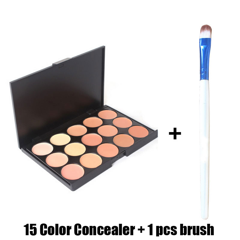 Professional 15 Color Concealer 15 Color Eyeshadow Face Eyeshadow Care Camouflage Makeup Base Palettes Cosmetic With 1 Pcs Brush(China (Mainland))