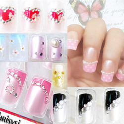 24 style 3D Crystal fake nails patch set Nail Stickers no need glue,free shipping