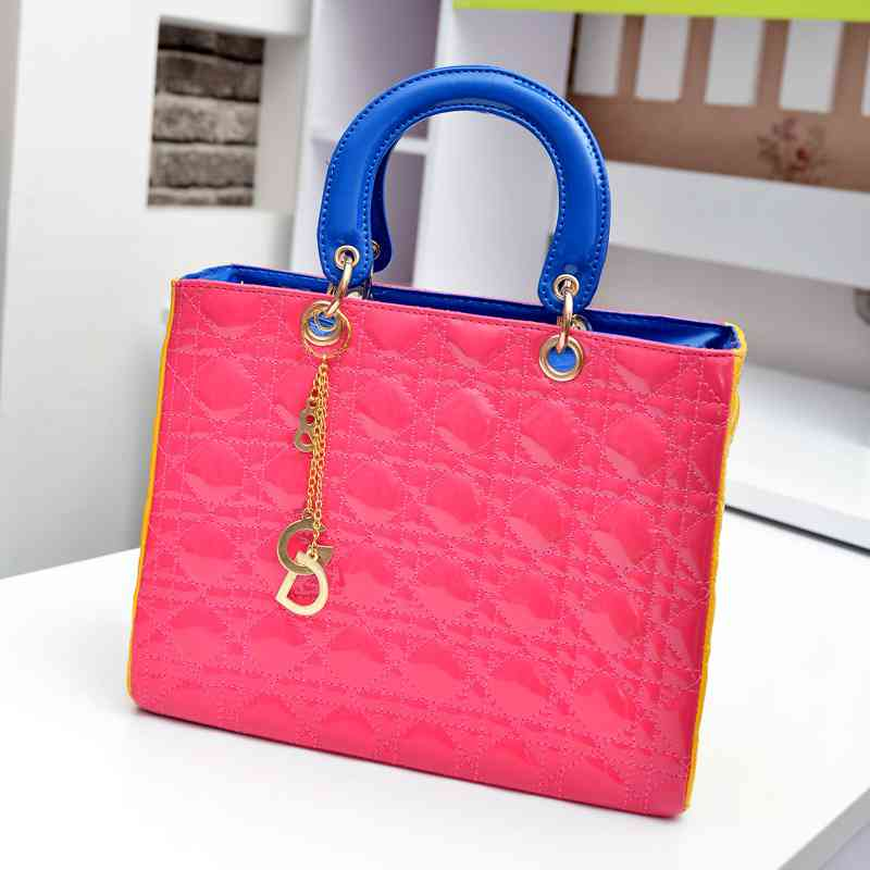 Summer classic handbags hit the color of stars flow rhombic of patent leather handbag(China (Mainland))