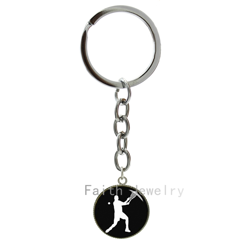 Tennis Sport keychain vintage tennist silhouette image key chains casual sports style tennis player tennis fans jewelry 1346(China (Mainland))