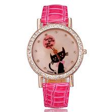 Watches ladies rose gold leather strap crystal rhinestones cute cat fashion casual designer purple women clock
