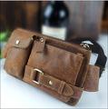 Genuine leather cowhide men waist bag belt bag small men fanny pack for wallet mobile phone