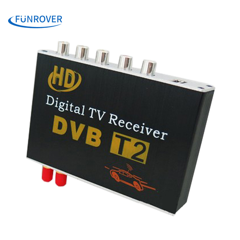 Free shipping dual antenna High Speed Car HD DVB-T2 Mobile cars Digital TV Turner Receiver auto tv box dvb t2 120-150KMH russia(China (Mainland))