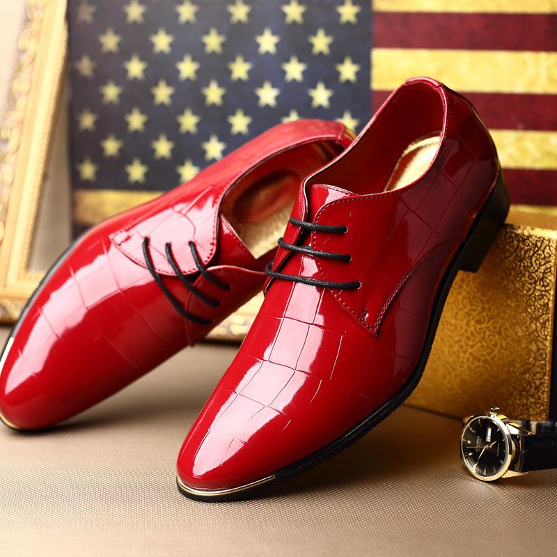 GENTLEMAN Patent Leather Man's Shoes Oxfords Men Plus Size 37-44 Round Toe Lace Flats Mens Brogue F262