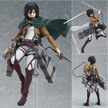 "2015 new Attack on Titan Figma 203 Mikasa Ackerman 6"" PVC Action Figure Collectible Model Toy Free Shipping(China (Mainland))"