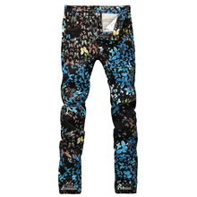 Men's fashion butterfly print jeans Casual slim fit black blue fancy painted denim pants Long trousers(China (Mainland))