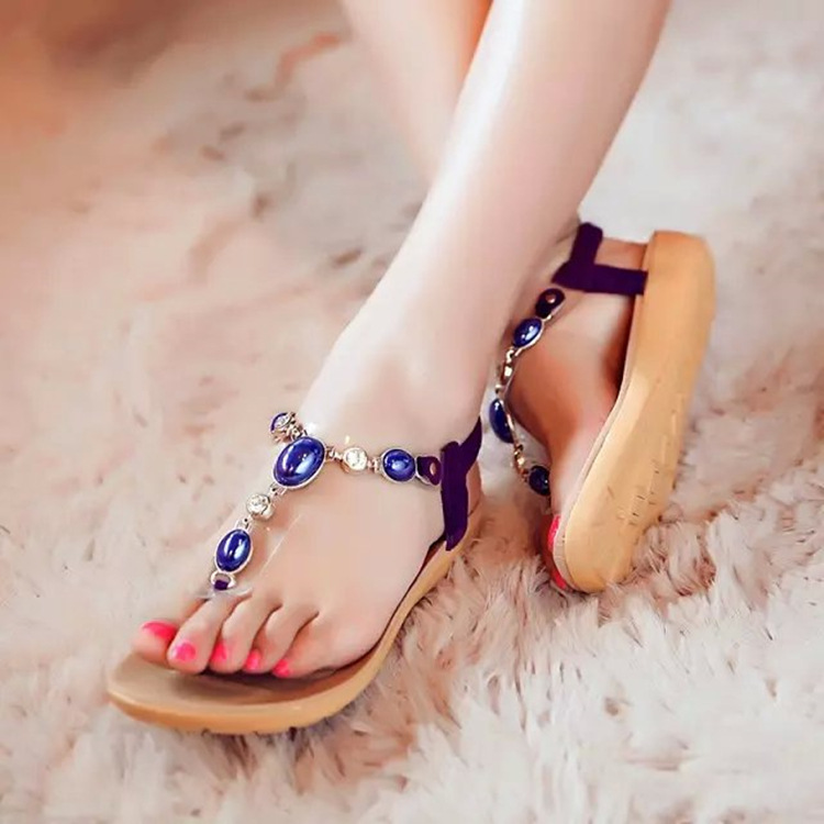 2016 Summer Rhinestone Cozy women sandals zapatos mujer New Arrivals flat Beadeding Women sandals <br><br>Aliexpress