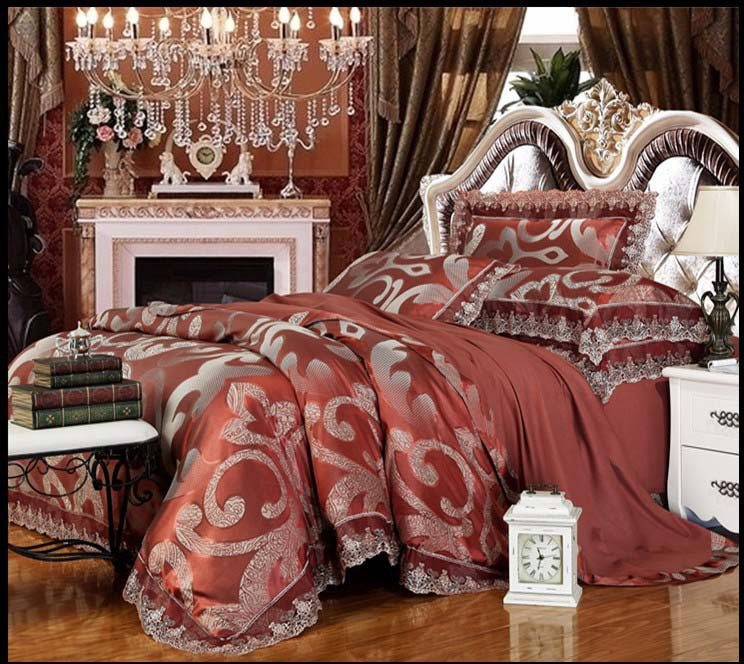 New Palace style Modal silk/cotton embroidery 4pcs lace jacquard luxury quilt/comforter/duvet cover bedspread bedding set/B3040(China (Mainland))