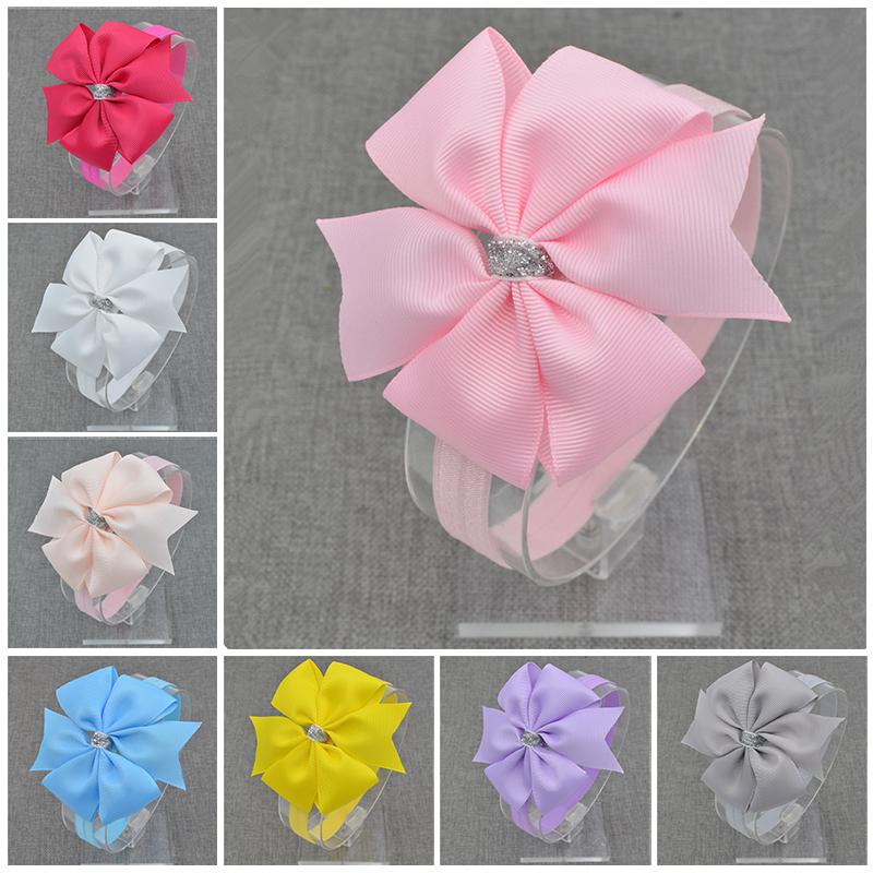 2016 Brand New Baby Silver Bow Headband Hair Bowknot Headbands Girls Bows Headband Toddler Headwear Infant Hair Accessories(China (Mainland))