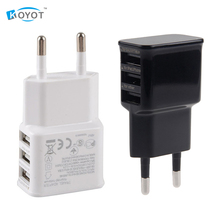 Buy 2pcs Universal Euro EU Plug 3 Ports AC Power USB Wall Travel Charger Adapter Iphone 6 6S Samsung IOS Android Smartphone for $4.15 in AliExpress store