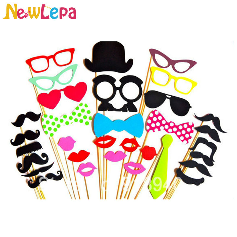 32pcs Photo Booth Props Glasses Mustache Lip On A Stick Wedding Props And Decorations Birthday Party Fun Favor Free Shipping(China (Mainland))