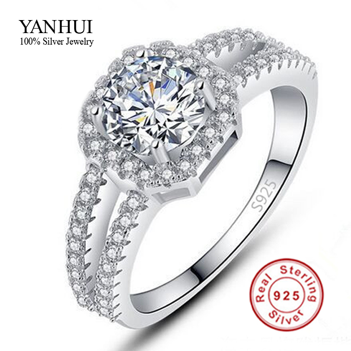 Big Promotion! Fine Jewelry 100% Pure 925 Sterling Silver Engagement Ring Set 2 Carat CZ Diamond Wedding Rings For Women JZR011(China (Mainland))