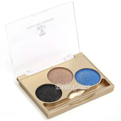 Makeup Eye Shadow Palette 3 Colors Eyeshadow Powder Kit Silky Blue Cosmetic Kit(China (Mainland))