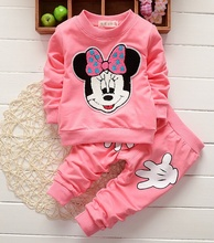Hot Sell Baby Girls Clothes Childrens Cartoon Printed Long Sleeve Tops T-shirt + Pants 2PCS Outfits Set Kids Bebes Clothes Suits