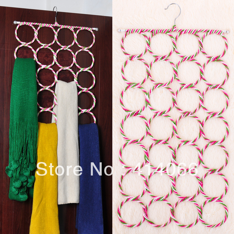 FREE SHIPPING 1piece/lot Creative Home High Quality Recycled paper Rattan hanger 28 laps Scarf Rack(China (Mainland))