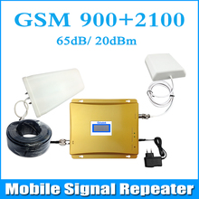 Full Set LCD Display Dual Band GSM 900MHz UMTS 2100MHz 3G WCDMA  Cell Phone Signal Booster EDGE HSPA Signal Amplifier Repeater(China (Mainland))