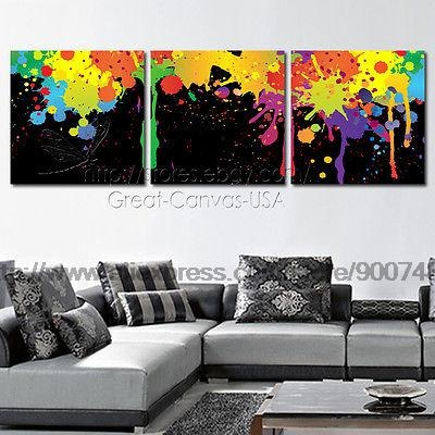 Colorful Paint Plash Modern Canvas Art Et Choice Of Oil Painting Black White Canvas Wall Art Paintings On Canvas Abstract(China (Mainland))