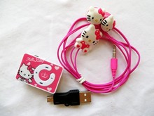 Buy cheaper 10pcs Mini Hello Kitty clip MP3 Music Player+10pcs Hello Kitty Earphone+10pcs Mini USB card reader music player for $26.20 in AliExpress store