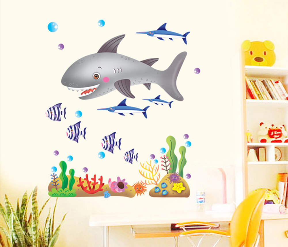 Undersea World Series Cartoon Sharks Tropical Fishes and Aquatic Plants Wall Decals, Children's Room Removable Wall Stickers(China (Mainland))