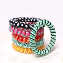 5 pcs Silicone elastic hair bands haar accessories for women spiral scrunchy telephone wire springs and gum bandeau wholesale