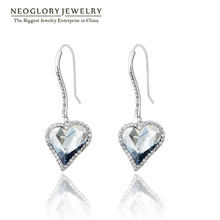 Neoglory MADE WITH SWAROVSKI ELEMENTS Rhinestone Love Dangle Earrings Gifts 2016 New Engagement Fashion JS4 He1 He-b(China (Mainland))