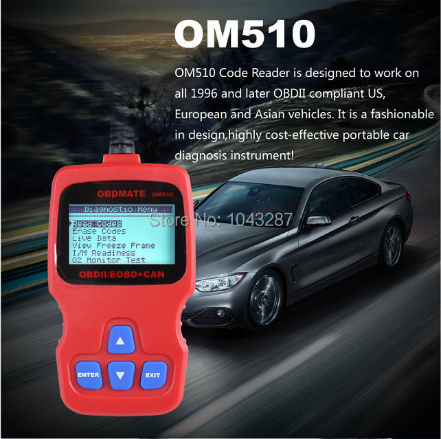 OBDMATE OM510 OBDII EOBD OBD2 Code Read Scanner English/French/German/Spanish/Dutch Free Shipping(China (Mainland))