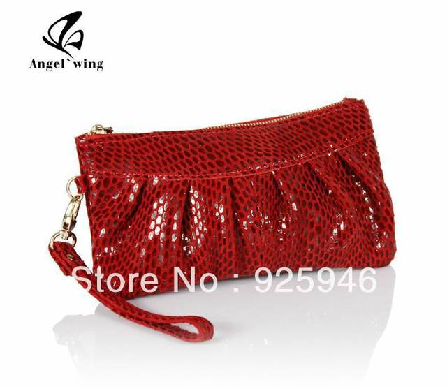 Free shipping Genuine leather women's serpentine pattern leather small dinner party purse mobile phone bag
