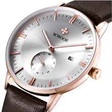 2016 Luxury Brand Wwoor Leather Strap Mens Business Watch Auto Date Hours Casual Clock Waterproof Relogio Masculino