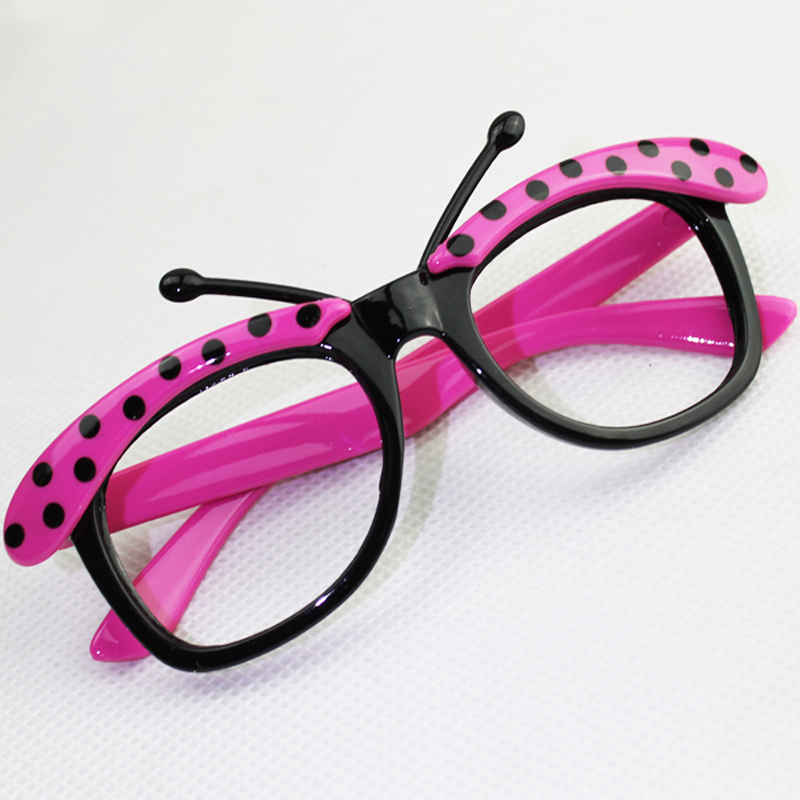 super cute 2016 kids gift butterfly decorated cartoon patchwork glasses frames children dots eyeglasses frame