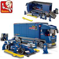 Without box F1 Transport Truck Sluban M38-B0357 641pcs building blocks 3D DIY educational toys birthday gift Free Shipping